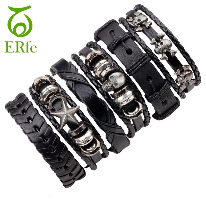 ER 6pcs Men Biker Genuine Black Leather Skull Bracelet Cool Cuff Wristaband Weave Braslet Punk Jewelry Hand Accessories LB006 ...