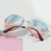 High Quality Unisex Rimless Aviation Sunglasses Women Men Br