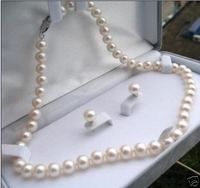 Wholesale Price 16new Exquisite 8 9mm Natural White Akoya Pearl Earrings Necklace Set 18