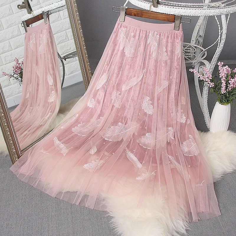bb7b8b77d9d8 Dulce pluma bordada capas tul línea a larga faldas de verano moda hojas  planetas malla terciopelo perla largo plisado faldas