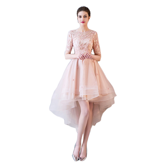 Aliexpress Buy Half Sleeves High Low Prom Dress With See