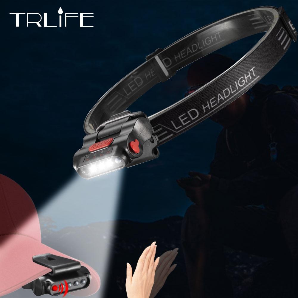 USB Aufladbare Induktion Sensor 3 * LED Eingebaute Scheinwerfer Kopf Lampe Clip Taschenlampen Taschenlampe Für Camping Radfahren Mit USB Ladegerät