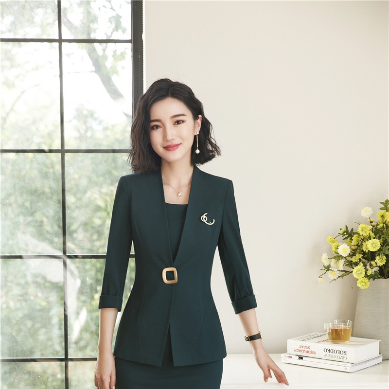 b3e92c0d9a8 Uniform Designs Half Sleeve Elegant Beige Blazers Formal Business Work Wear  Jackets Coat Female Tops Clothes Plus Size-in Blazers from Women s Clothing  on ...