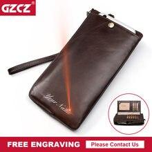 6783ffdd12e GZCZ mannen Echt Lederen Clutch Portemonnee Vintage Rfid Portefeuilles  Mannelijke Organizer Mobiele Telefoon Clutch Bag Lange
