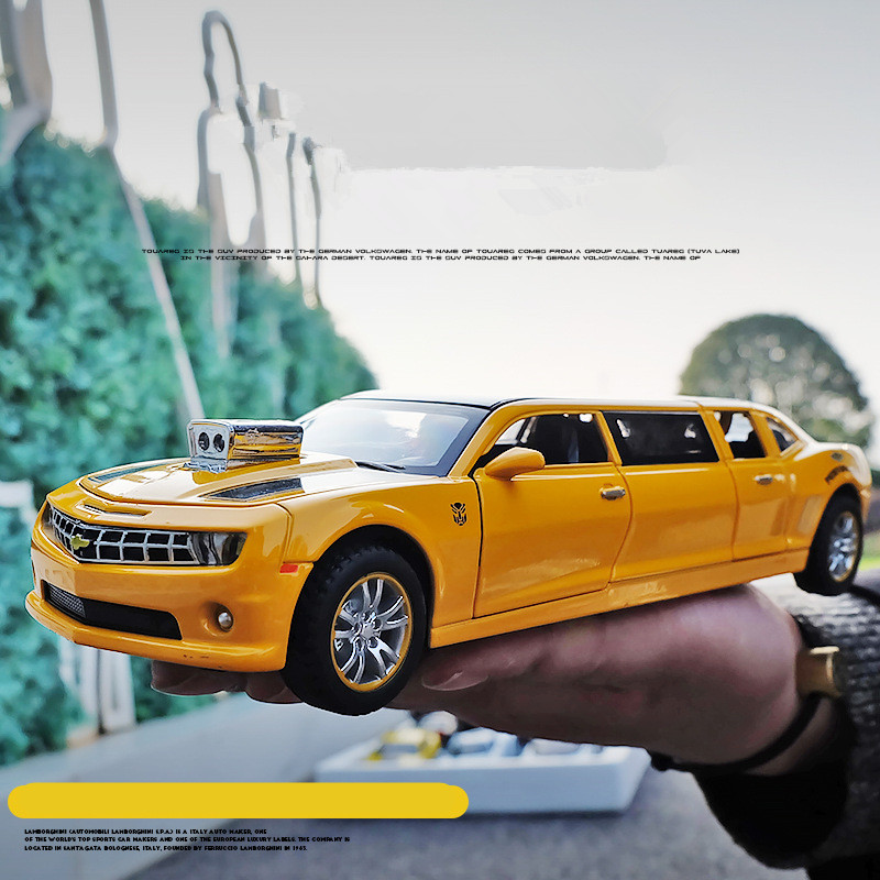 Lengthened Yellow Comalo Car Model High Quality 1 32 Alloy Pull Back Cars Musical Flashing 6 Open The Doors Free Shipping In Casts Toy Vehicles From