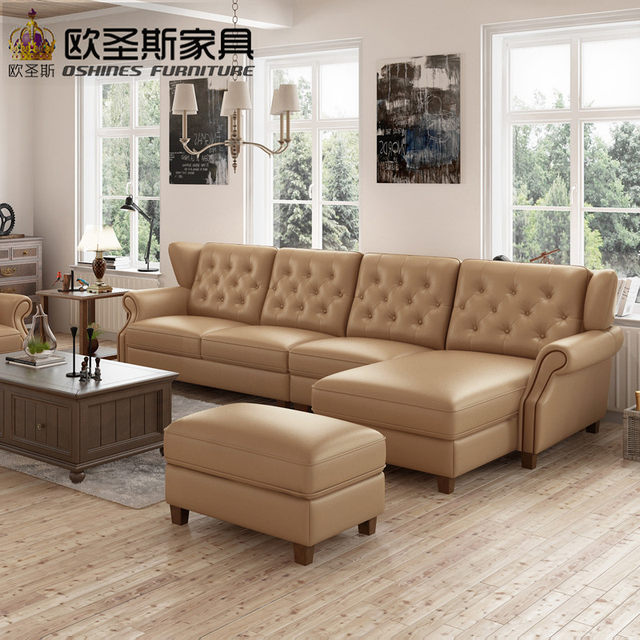 Light Coffee American Style New Designs 2017 Sectional Living Room Furniture  L Shaped Corner Victorian Leather Sofa Set F80L