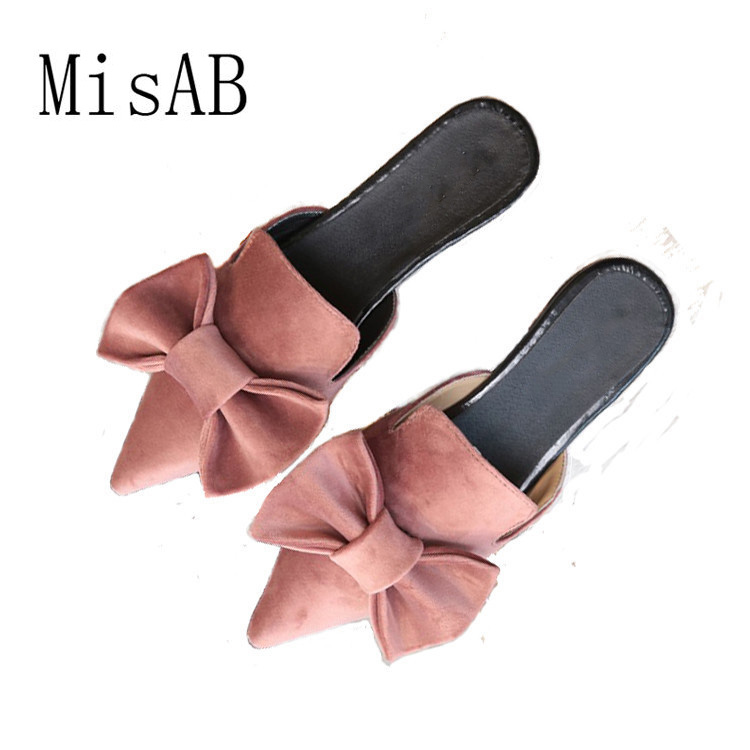 2018 NEW Women sandals slippers bowtie summer fashion vacation sandals point toe flats suede Sweety quality shoes ALF530