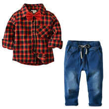 New Posh Spring Boy Clothes Cool Boys Plaid Shirt and Jeans Pant Clothing Set Autumn Kids Hot Sales
