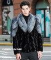 Высокое качество мужской Шуба Фокс меховым воротником Мужчины Норки пальто Из Натуральной кожи норки Куртка ограниченным тиражом Плюс Размер М-4XL