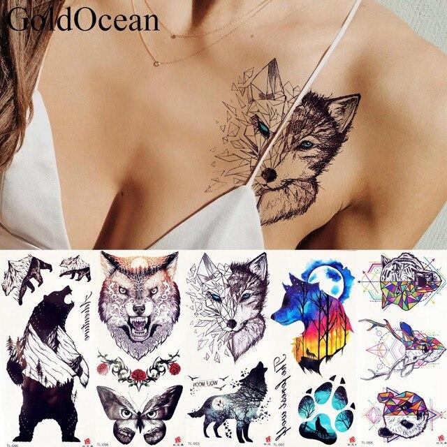 Estilo De Verano Negro Geométrico Lobo Tatuaje Pegatinas Mujeres