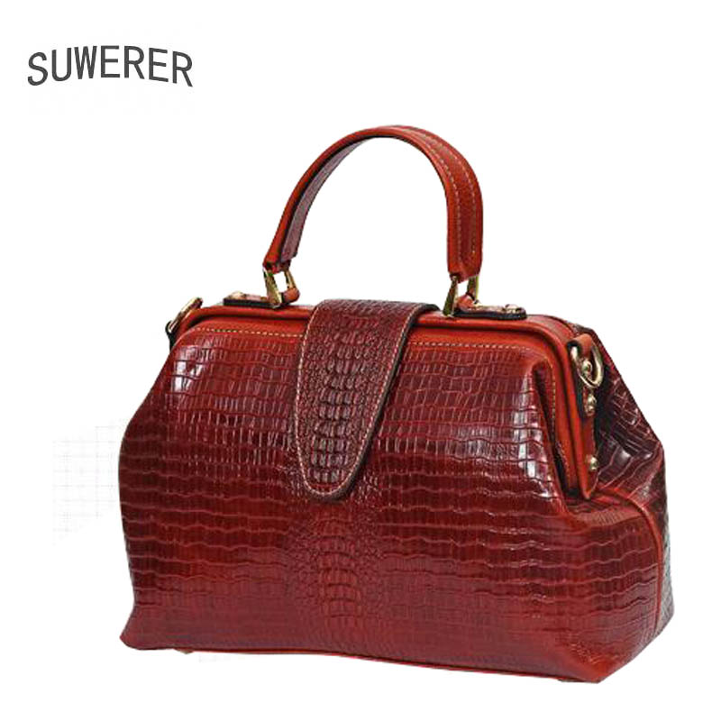 SUWERER Superior cowhide genuine leather women handbags Crocodile pattern luxury handbags women bags designer leather bags lgloiv real crocodile luxury handbags women bags designer with logo satchel custom made 2018