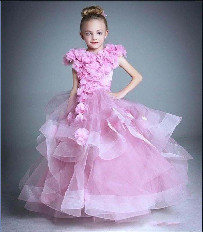 New Pink Ruffle Formal Pageant Gowns With handmade   Flowers   Tiered Tulle   Flower     Girl     Dress   For Wedding Special Occasion Vestidos