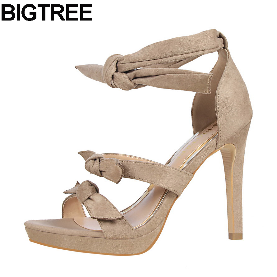 BIGTREE 2017 new fashion women bow butterfly-knot flock sandals lace up platform high heel pumps party wedding shoes woman xiaying smile summer new woman sandals platform women pumps buckle strap high square heel fashion casual flock lady women shoes