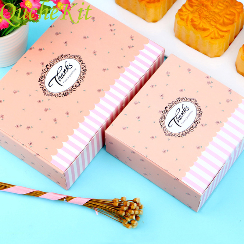 10pcs Thanks Pink Candy Cake Paper Box 4/6PCS Moon Cake Packaging Box Cardboard Handmade Soap Box For Gift Biscuit