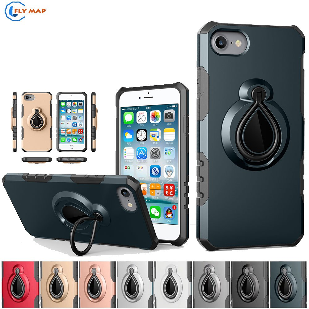 Coque For Apple iPhone 8 iPhone8 Plastic+TPU Rotating Mobile Smartphone Protector Case Cover For Apple i Phone 8 Silicone Box