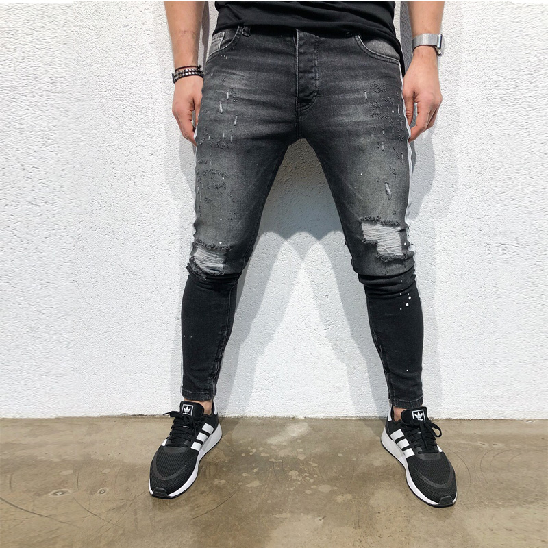 NEW Fashion Men's Hole Embroidery Jeans Hip-hop Slim Men JeansMens Skinny Jeans 2019 Super Skinny Jeans Men Non Ripped Stretch