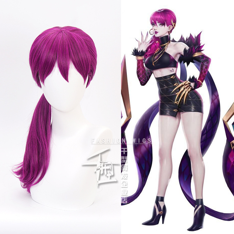 2019 HOT Game Character LOL K/DA Evelynn Cosplay Wigs Rose Red KDA Heat Resistant Synthetic Hair Perucas Cosplay Wig