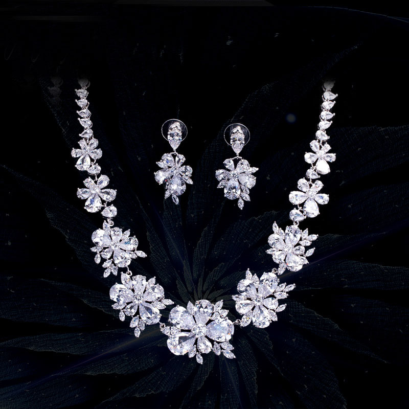 Luxury Cubic Zircon Necklace and Earrings Sets For Wedding Party CZ Jewelry Accessories