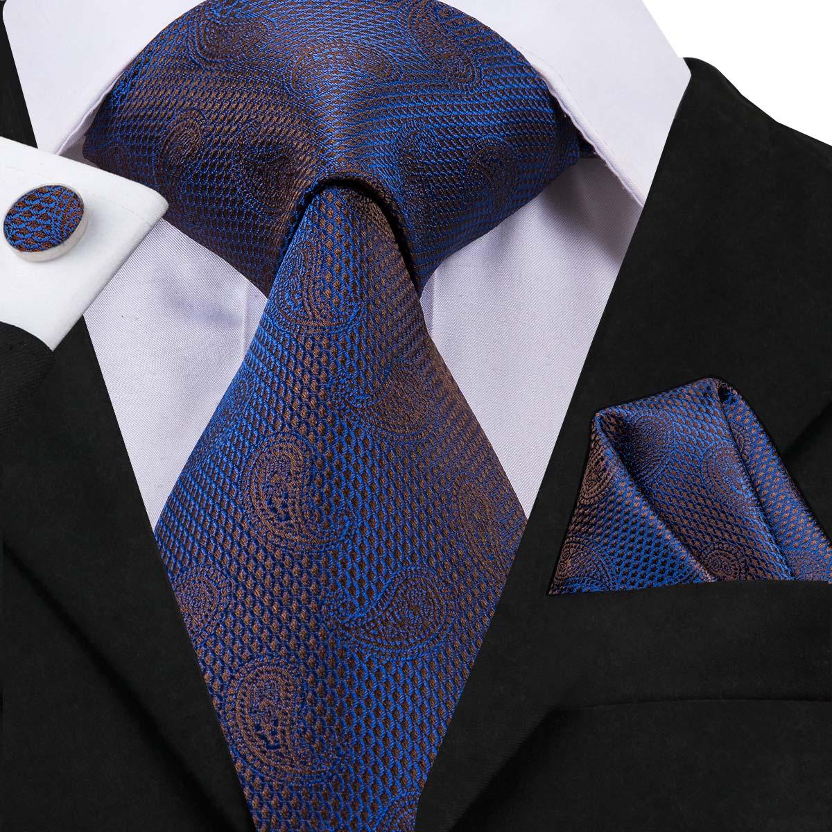 C-3048 Hi-Tie Luxury 100% Silk Men Tie Paisley Blue Necktie Hanky Cufflinks Set 8.5cm Men's Classic Party Wedding Tie Set 150cm