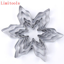 5 Pcs/lot Kepingan Salju Bentuk Cookie Cutter Stainless Steel Salju Bentuk Cookie Cetakan DIY Fondant Kue Dekorasi Cetakan(China)