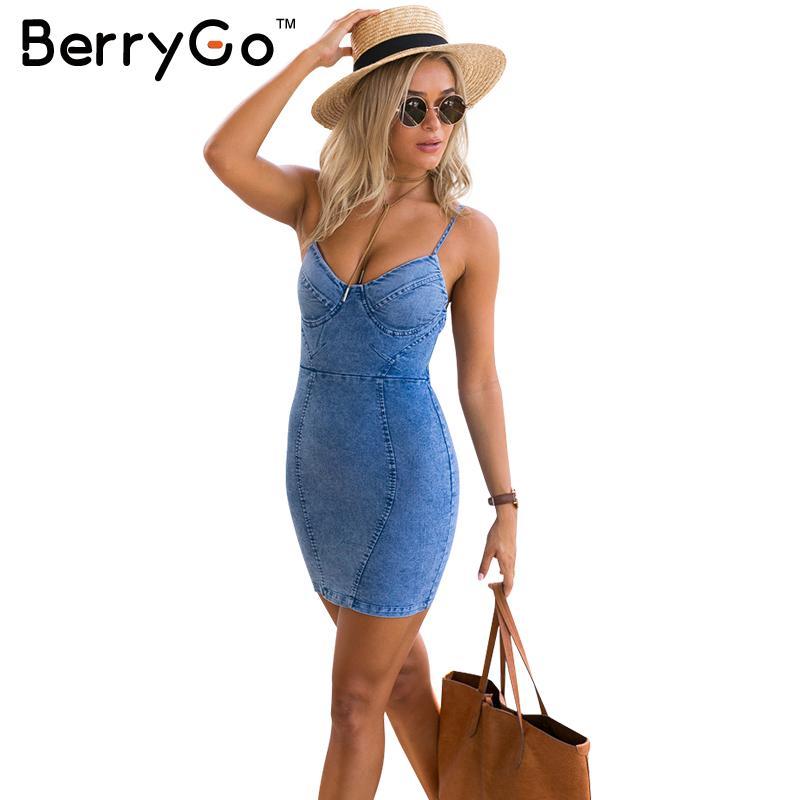 BerryGo Sexy backless denim camicia di vestito Delle Donne dell'annata aderente summer dress Beach party abiti corti Casuali blu slip abiti