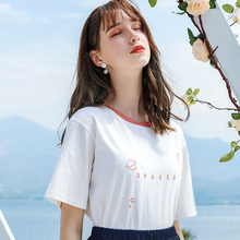 AcFirst Summer Women Tops Casual White T-shirts Solid Shirt O-Neck Short Plus Size T Cotton Sexy Tees Print