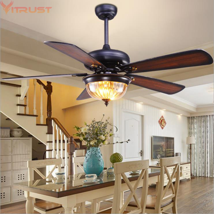 Nordic ceiling fan lights industrial lamps remote control - Bedroom ceiling fans with remote control ...