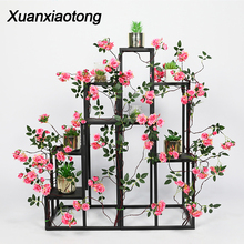 Xuanxiaotong 180cm Red Rose Artificial Flowers Vine for Wedding Wreath Arch Decor Hanging Background Wall Home Pipe Decoration