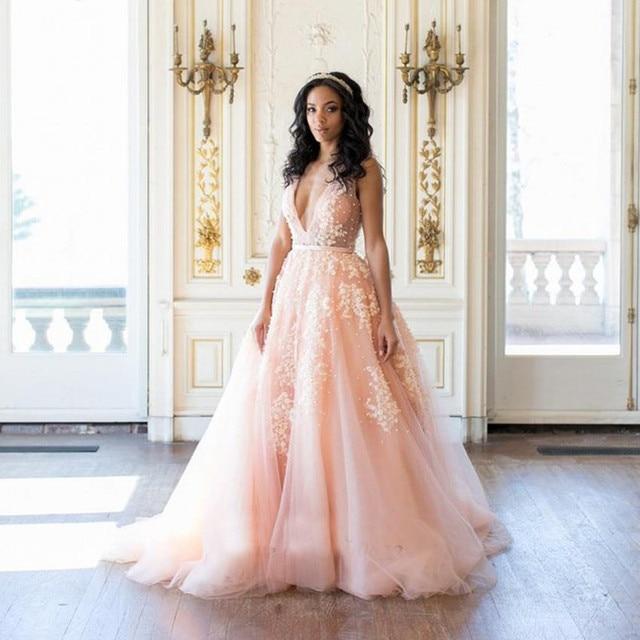 Pink V-Neck Wedding Gowns