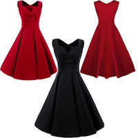 Audrey Hepburn Style 50s Vintage Print Sleeveless Sweetheart Swing Dress Vestidos Robe Women Gown Prom Party