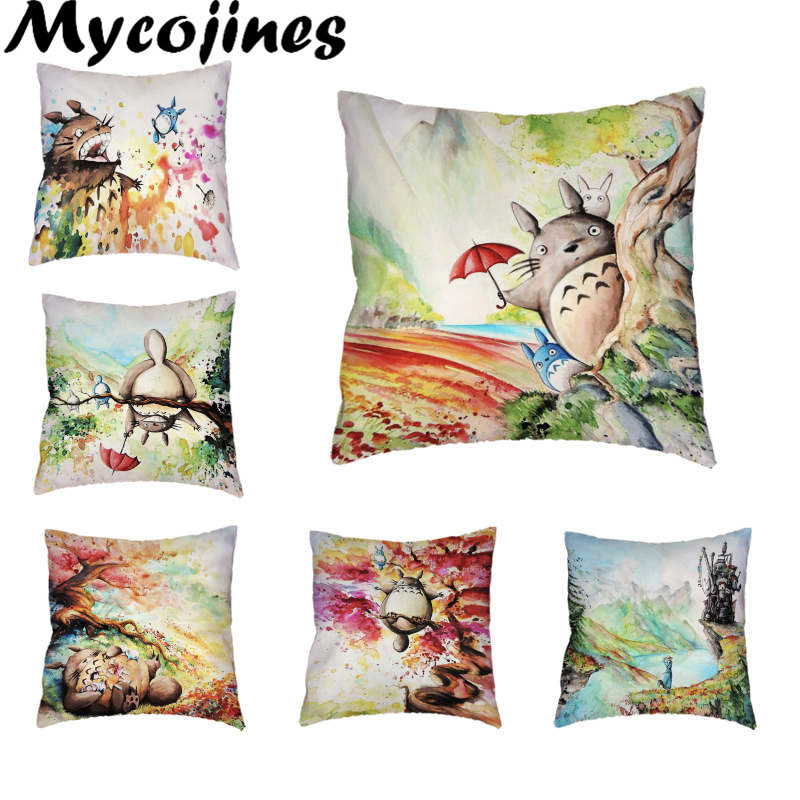 Crtana prevleka za blazino Izvleček Totoro barvito drevo 17 * 17 v - Domači tekstil