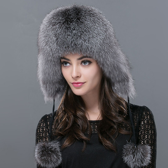 2016 Women's Fur Hat Winter Fox Fur Tapper Hat with Fur Pom Pom Ear Protect Bomber Hats Russian Ushanka Outdoor Caps