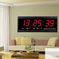 Digital Wall Clock Big LED Time Calendar Temperature Display Electric Alarm Clock Home Decor EU Plug