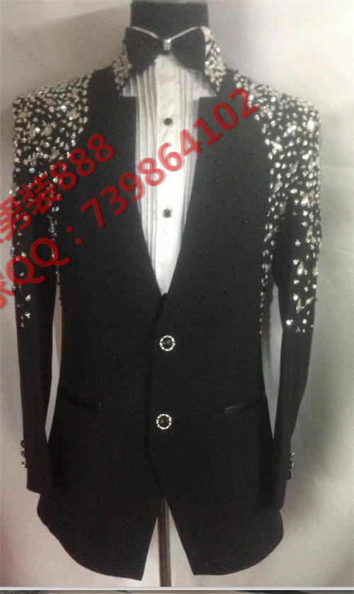 2016 Plus Size Mens Fashion Suit Male Black Slim