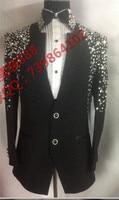Plus Size Mens Fashion Suit Male Black Slim Rhinestone Formal Dress Stage Show Suit For Singer Dancer Performance Wear