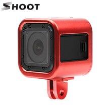 לירות CNC אלומיניום סגסוגת מגן מסגרת מקרה עבור Gopro Hero 5 4 מפגש פעולה מצלמה מתכת הר עבור GoPro מושב אבזר