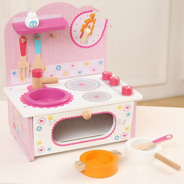 c3a372e2d05d Kawaii Cute Baby Toys Kid Cooking Set Wooden Kitchen Toy For Children Wooden  Food Play Kitchen Set Pink Stove Gift Best Quality