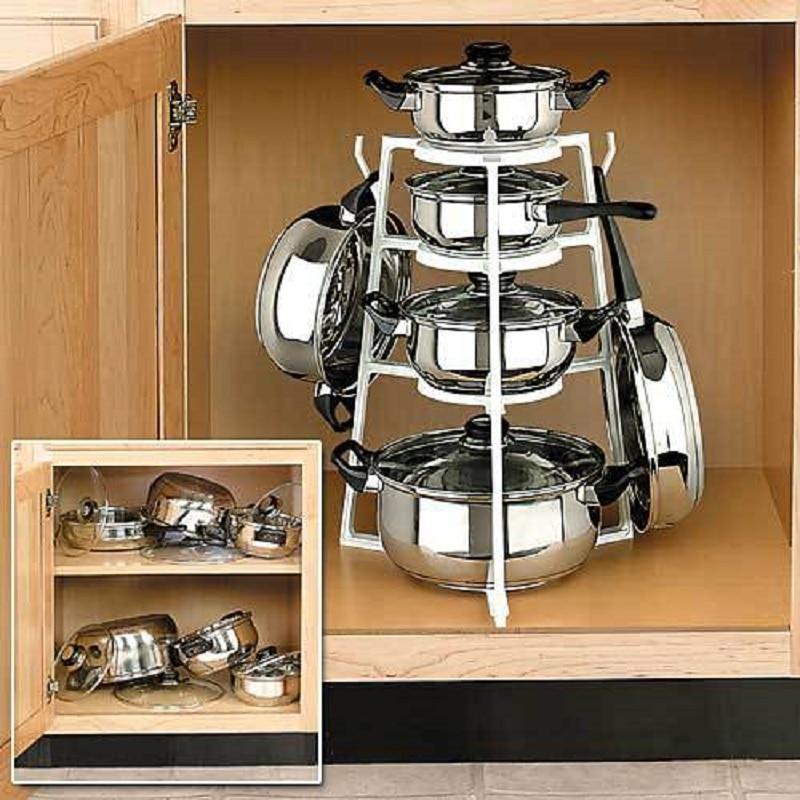 Stand Kitchen Storage Prateleira Pot Rack Cookware Holder Shelf Turret Estante Rangement Cuisine