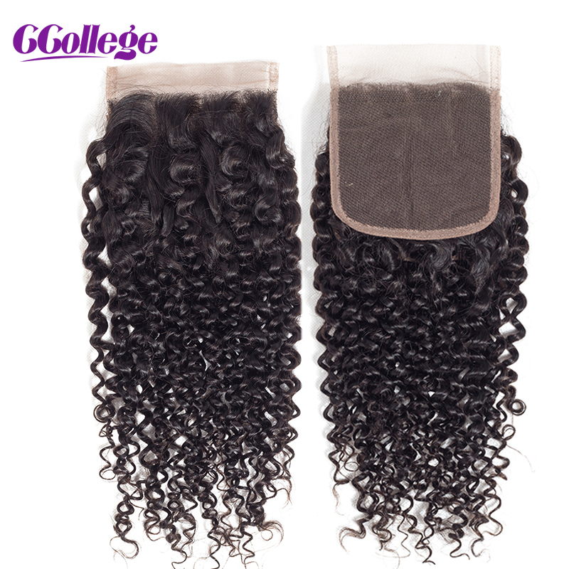 Ccollege Brazilian Hair Kinky Curly Hair Lace Closure 4*4 Perruque Cheveux Humain With Baby Hair Bleached Knots Natural Color