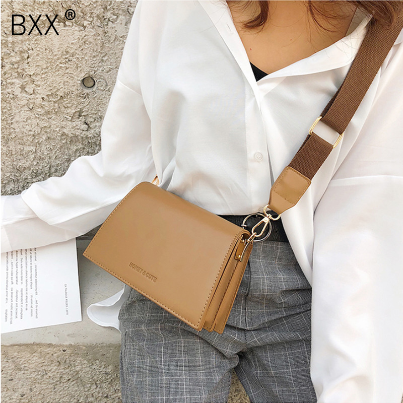 [BXX] Women's Single Shoulder Crossbody Bag All-match Flap 2020 Vintage PU Leather Female Party Handbag Wide Straps Bag HF317