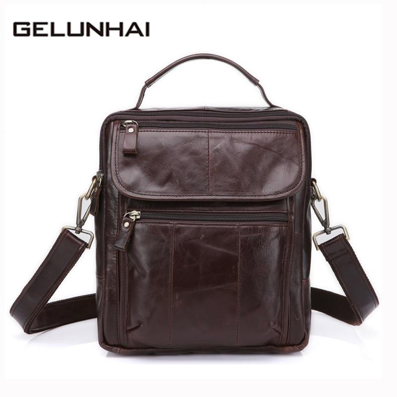 2017 New Arrival Cell Phone Pocket Genuine Leather Bag Men Crossbody Bags Men's Messenger New Shoulder Handbags Male Flap 8870 bfdadi 2018 new arrival hat genuine