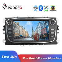 Podofo Android 8.1 GPS Car Radios 2 Din Car Multimedia player 7'' Audio DVD Player For Ford/Focus/S Max/Mondeo 9/GalaxyC Max