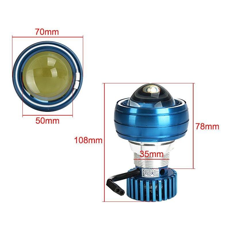 Ironwalls 2.75 Motorcycle LED Headlight Projector Driving Light Lamp Angel Devil Eye White Blue For Honda CBR 1000RR 1000F 1100