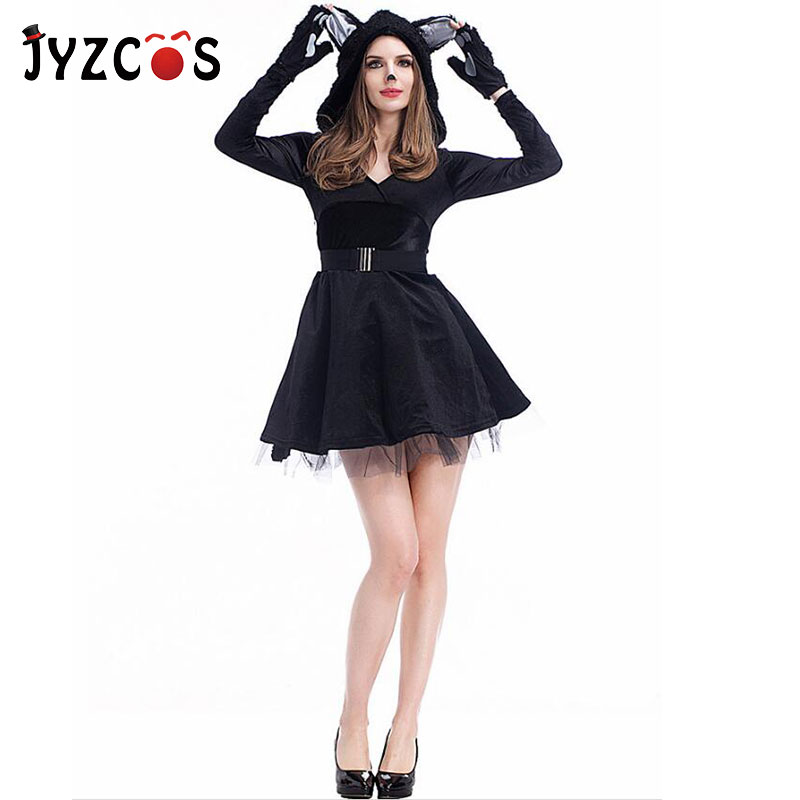 JYZCOS Sexy Cat Women Costume Girls Animal Cosplay Costume Halloween Purim Party Fancy Dress