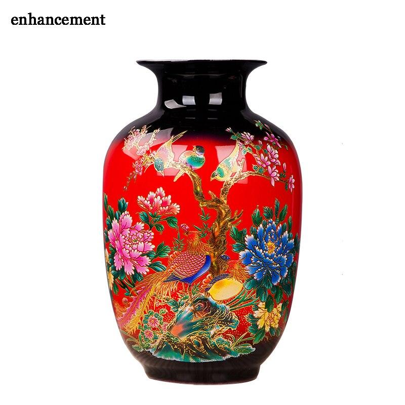 Vintage Porcelain Flower Vase Cute Red Matte Ceramic Flower Holder Container 13 Models Choosing Home Desk Decor vase