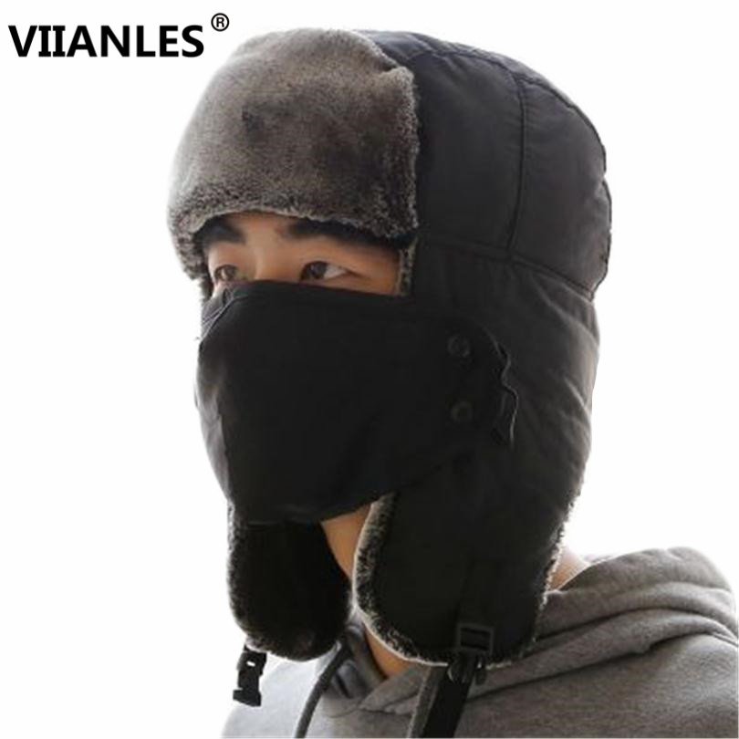 VIIANLES Bomber Caps High Quality Winter Cap Man Aviator Hats Sport Ear Flaps masks Bomber Caps Flaps Caps For Men Russian Hat(China)