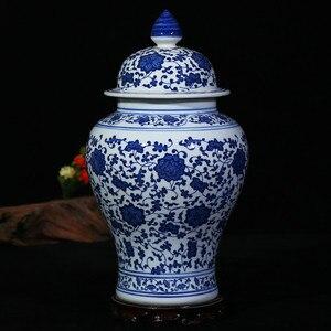 Image 2 - Chinese Style Antique Imposing Ceramic Ginger Jar Home Office Decor Blue and White Porcelain Vase