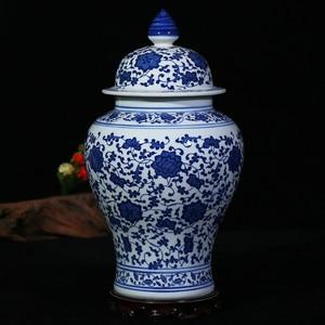 Image 2 - Çin Tarzı Antika Heybetli Seramik Zencefil Kavanoz Ev Ofis Dekor Mavi ve Beyaz Porselen Vazo