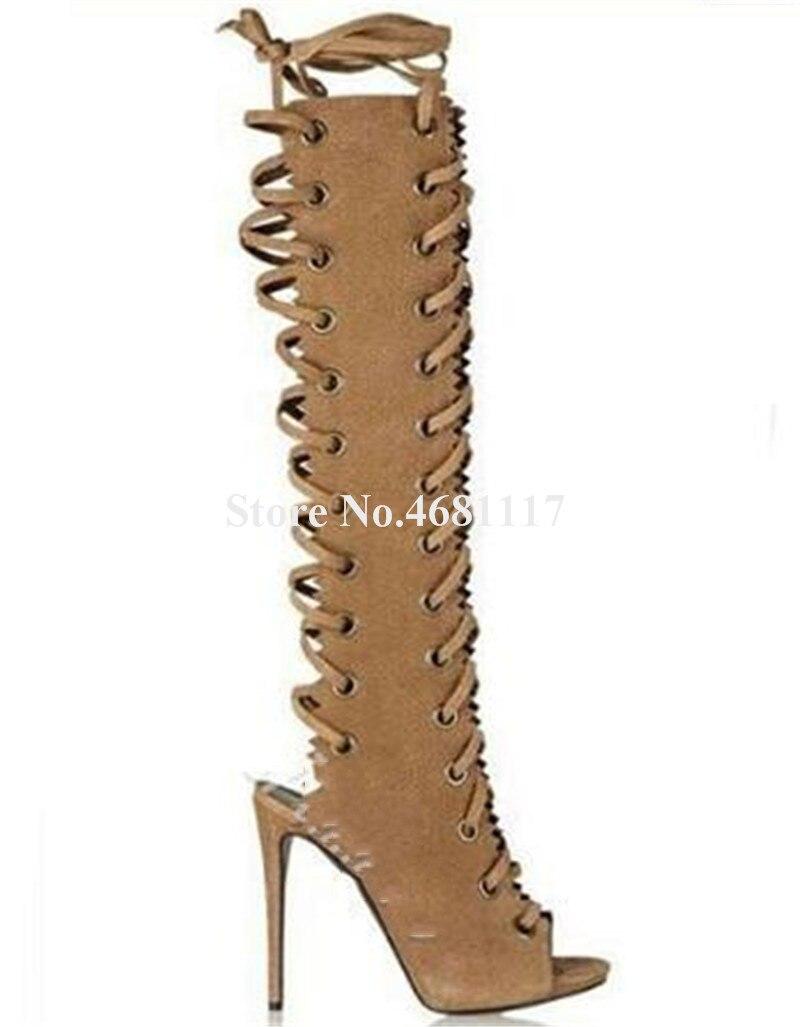 Alto Peep Rodilla Gamuza Picture Mujeres Picture Gladiador Fino Nueva Alta Moda Cuero Encaje Zapatos Botas as As Sestito Club De Toe Tacón Corte qXtvaxwf