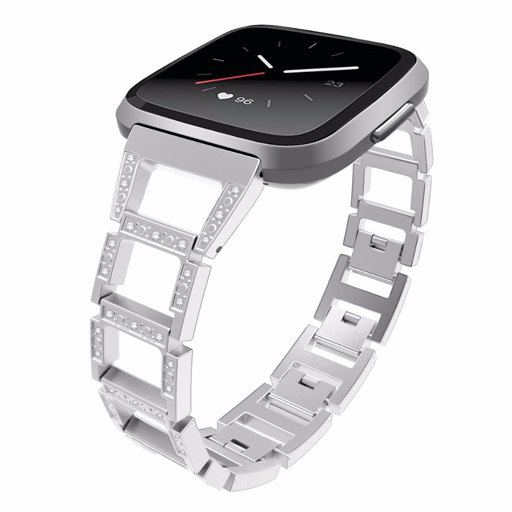 For Fitbit Versa Smart Watch Bracelet Crystal Diamond Women's Watch Band Stainless Steel Bracelet Straps Replacement Wrist Band for fitbit versa watch band fashion jewellery crystal chain wrist bracelet watch band straps for fitbit versa smart watchbands